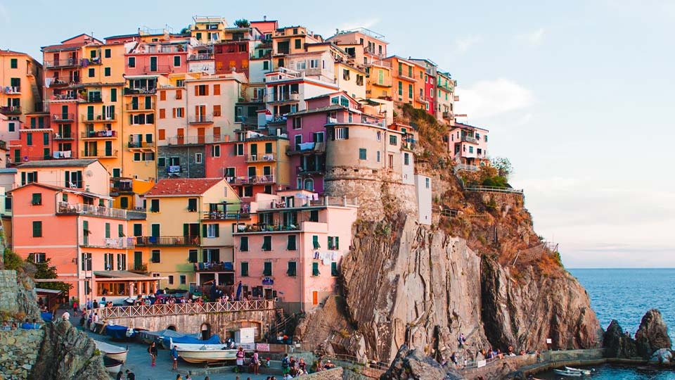 Houses on the coast in country of origin Italy